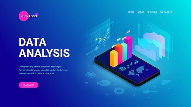 Concetto di pagina di destinazione isometrica di analisi dei dati. dati del grafico 3d sullo schermo dello smartphone, rapporto di statistiche, icone sul blu. illustrazione per app mobile, modello di sito web, seo, marketing infografica