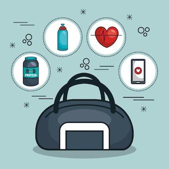 Concetto di palestra borsa e kit
