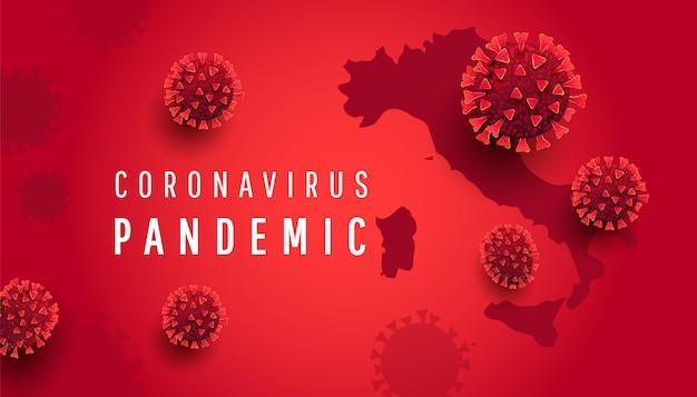 Concetto di pandemia di coronavirus. sfondo orizzontale con mappa italia, 3d covidi 19 cellule batteriche con testo
