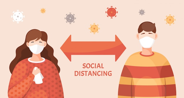 Concetto di pandemia virale, mantenere le distanze sociali, ragazza e ragazzo in maschere mediche facciali