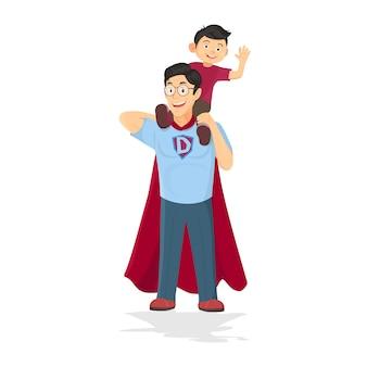 Concetto di papà supereroe. padre che si prende cura del figlio