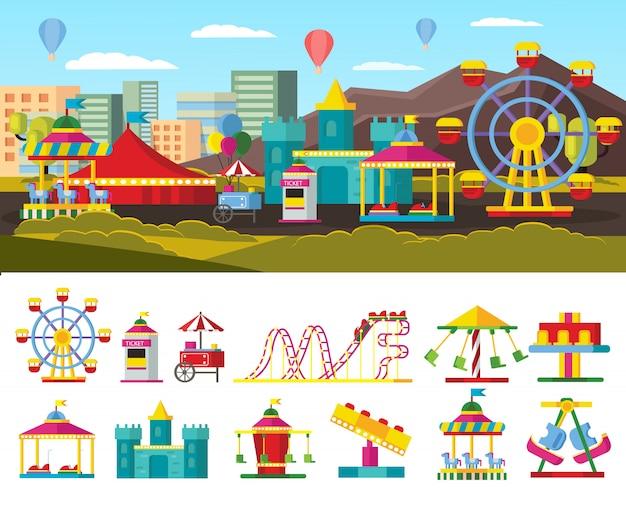 Concetto di parco divertimenti urbano