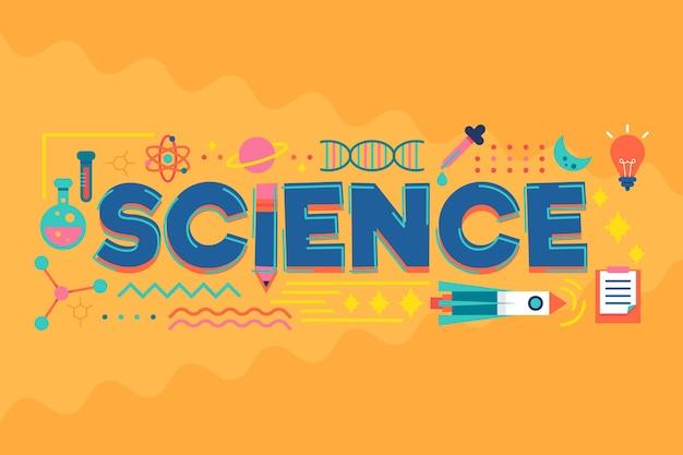 Concetto di parola di scienza con raccolta di elementi