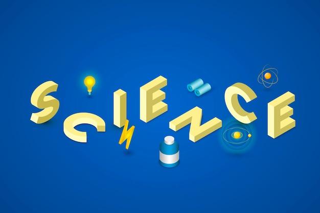 Concetto di parola di scienza in stile isometrico