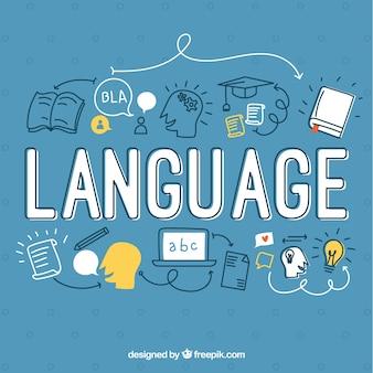 Concetto di parola lingua disegnata a mano