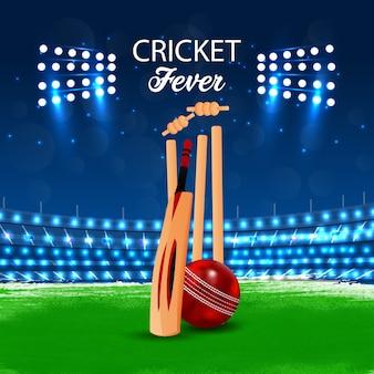 Concetto di partita di cricket con stadio e sfondo