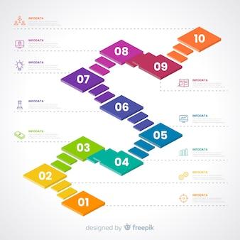 Concetto di passaggi colorati infografica