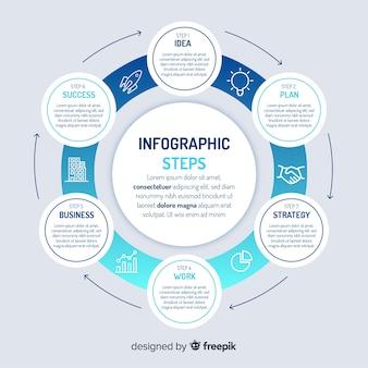 Concetto di passaggi infografica con colori sfumati