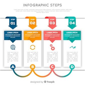 Concetto di passaggi infografica in design piatto
