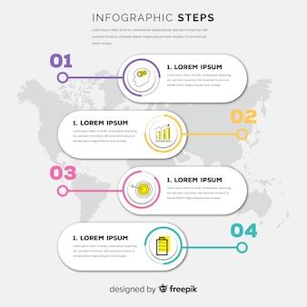 Concetto di passaggi infografica in stile piano