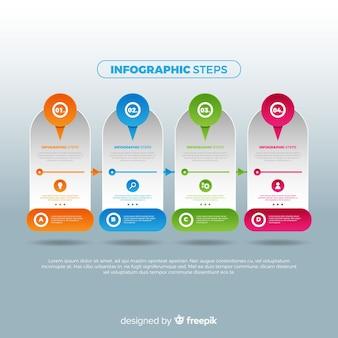 Concetto di passaggi infografica sfumatura creativa