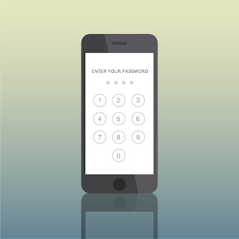 Concetto di passcode elettronico dell'icona smart phone