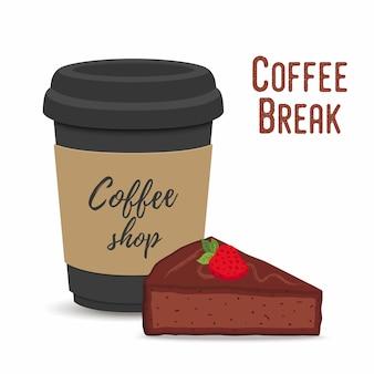 Concetto di pausa caffè tazza e biscotto