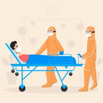 Concetto di paziente critico coronavirus