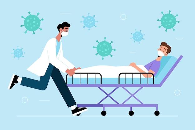 Concetto di paziente critico di coronavirus