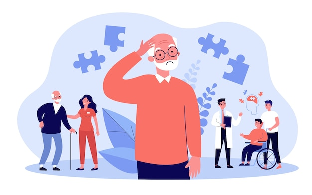 Concetto di pazienti di alzheimer. le persone che soffrono di malattie cerebrali e perdita di memoria, ricevono assistenza medica. illustrazione per la terapia neurologica, argomenti di rischio di malattia mentale