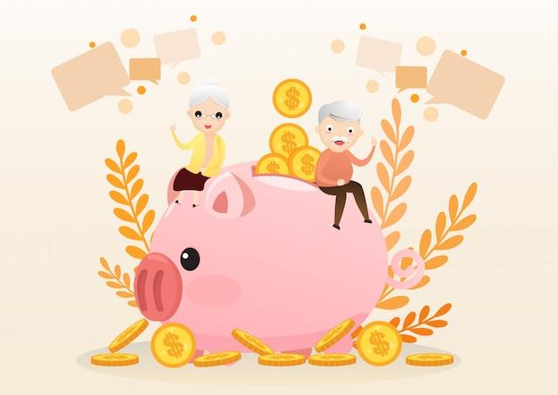 Concetto di pensione. uomo anziano e donna con salvadanaio dorato.