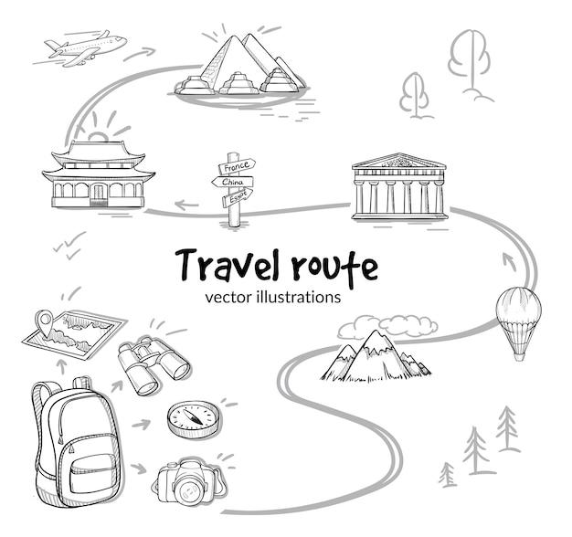 Concetto di percorso di viaggio di schizzo