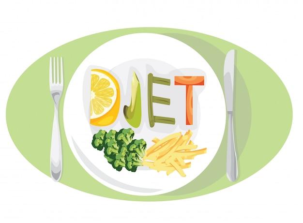 Concetto di perdita di peso dieta con frutta e verdura