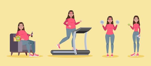 Concetto di perdita di peso. la donna grassa diventa magra