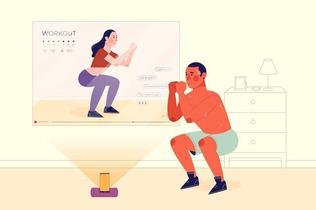 Concetto di personal trainer online