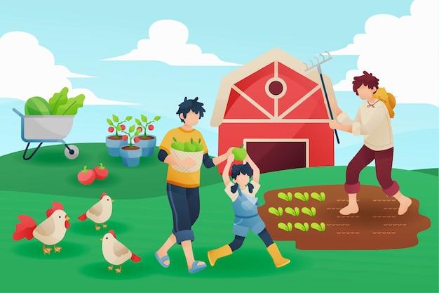 Concetto di persone agricoltura biologica