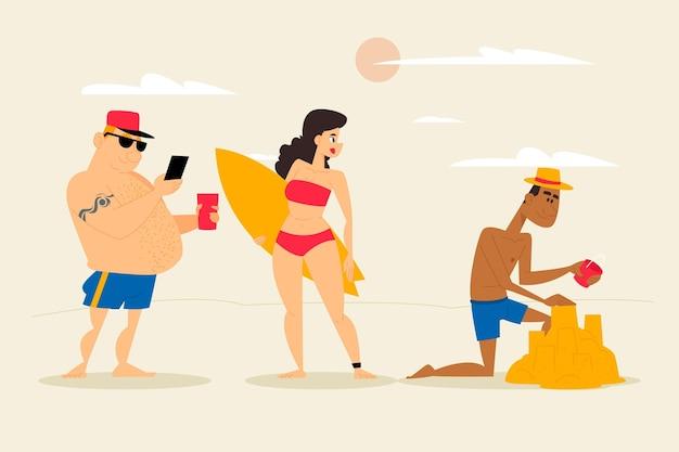 Concetto di persone di spiaggia