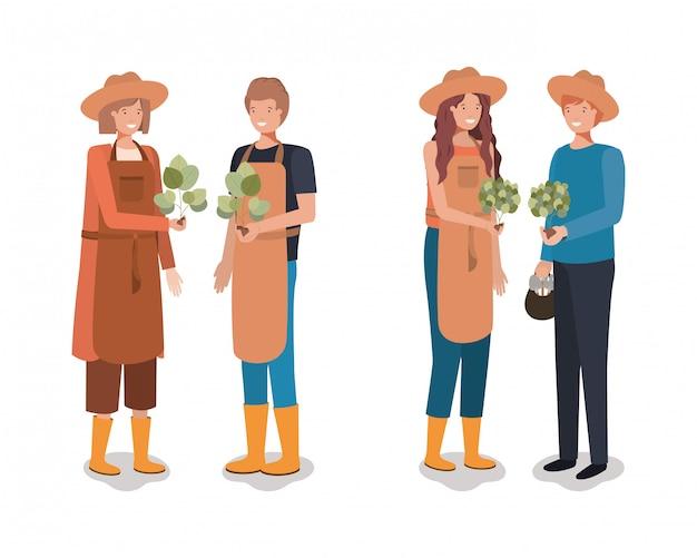 Concetto di persone e giardinaggio