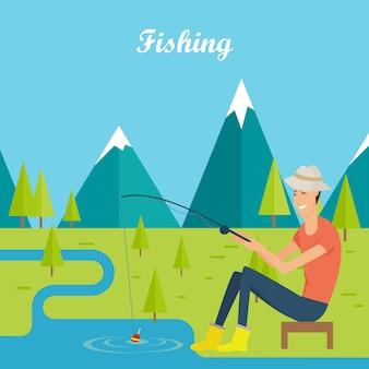 Concetto di pesca e campeggio. giovane pescatore