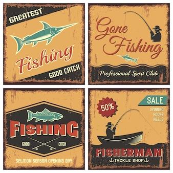 Concetto di pesca stile vintage