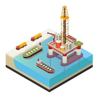 Concetto di piattaforma petrolifera acqua isometrica