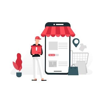 Concetto di piatto negozio online