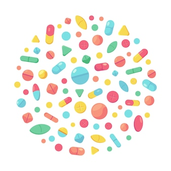 Concetto di pillole mediche. supplementi della farmacia, pillole e antidolorifico capsula, illustrazione medica della farmacia delle pillole antibiotiche delle compresse. compressa e vitamina, capsula e pillola, antibiotico medicinale