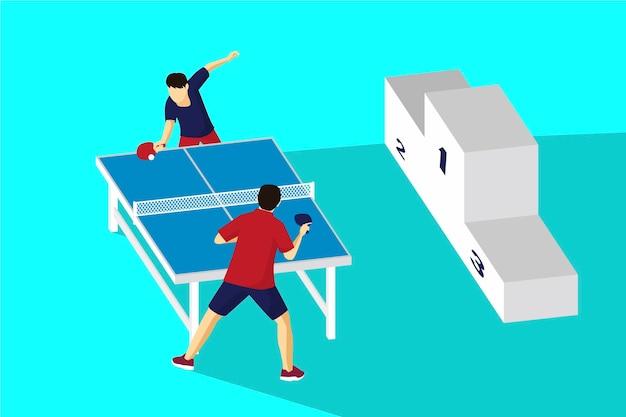 Concetto di ping-pong con podio dei vincitori