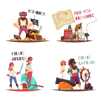 Concetto di pirata con personaggi umani piatti del capitano pirata dei cartoni animati e marinai con didascalie di testo