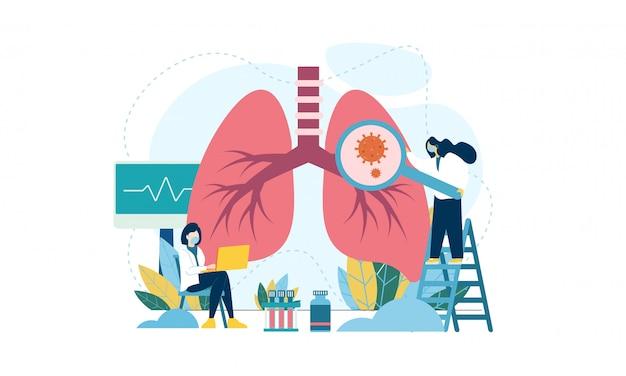 Concetto di pneumologia. personale sanitario polmonare. illustrazione piatta