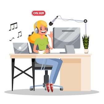 Concetto di podcast. idea di studio di podcasting e persone