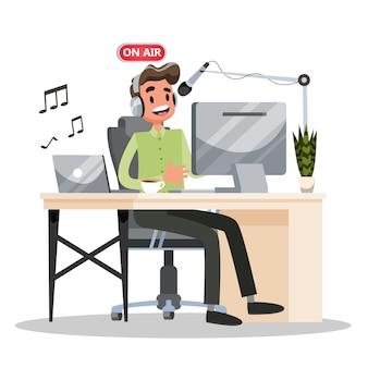 Concetto di podcast. idea di studio di podcasting e uomo