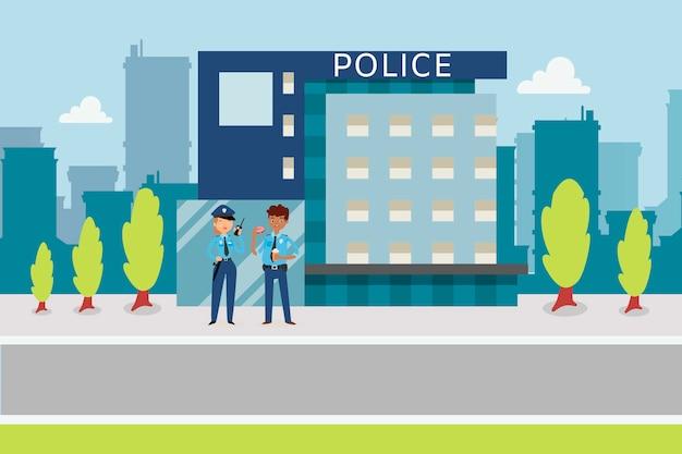Concetto di polizia con stile piano di poliziotti vicino al commissariato di polizia, illustrazione di cartone animato.