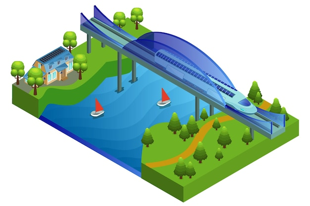 Concetto di ponte ferroviario isometrico
