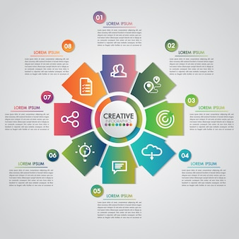 Concetto di presentazione aziendale con 8 passaggi business e industria gear modello infografica stile