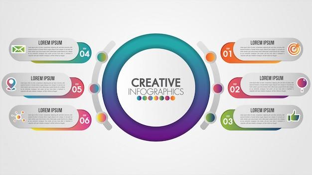 Concetto di presentazione di affari di cronologia di infographics con 6 punti e attrezzi di industria