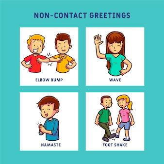 Concetto di prevenzione saluti senza contatto