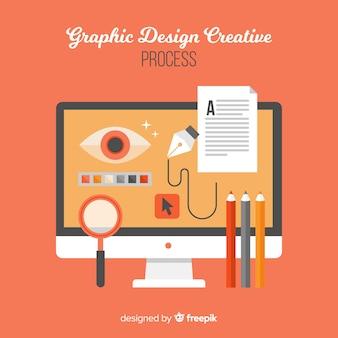 Concetto di processo creativo di progettazione grafica