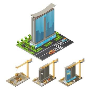 Concetto di processo di costruzione di edifici isometrica con diverse fasi di gru per l'erezione del grattacielo e trasporto industriale isolato