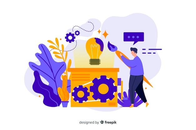 Concetto di processo di progettazione con carattere per landing page