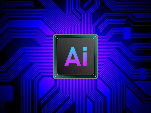 Concetto di processore di intelligenza artificiale.