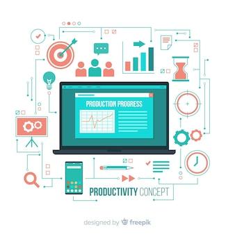 Concetto di produttività disegnata a mano colorato