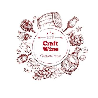 Concetto di produzione artigianale di vino rosso