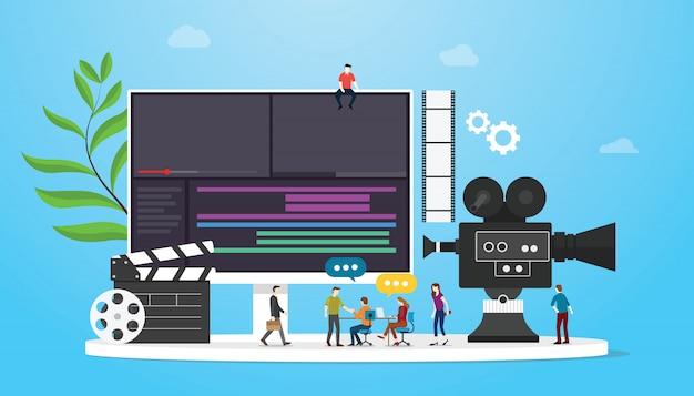 Concetto di produzione di video cinematografici con persone del team e editing di macchine fotografiche con uno stile piatto